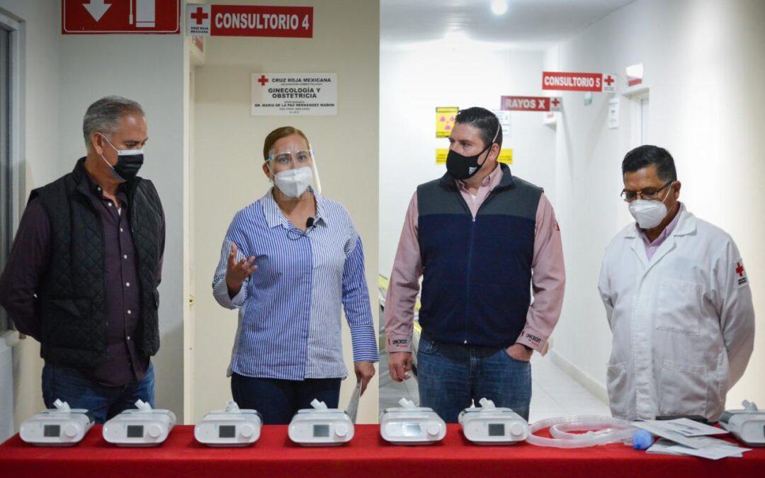 Entrega Marina Vitela siete ventiladores a la Cruz Roja gomezpalatina con el programa de Funsalud y la SRE
