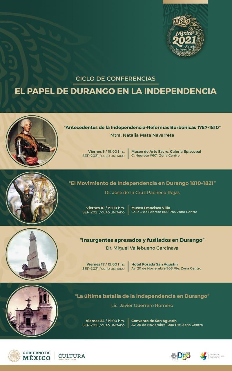 """Ciclo de Conferencias """"El Papel de Durango en la Independencia"""":"""